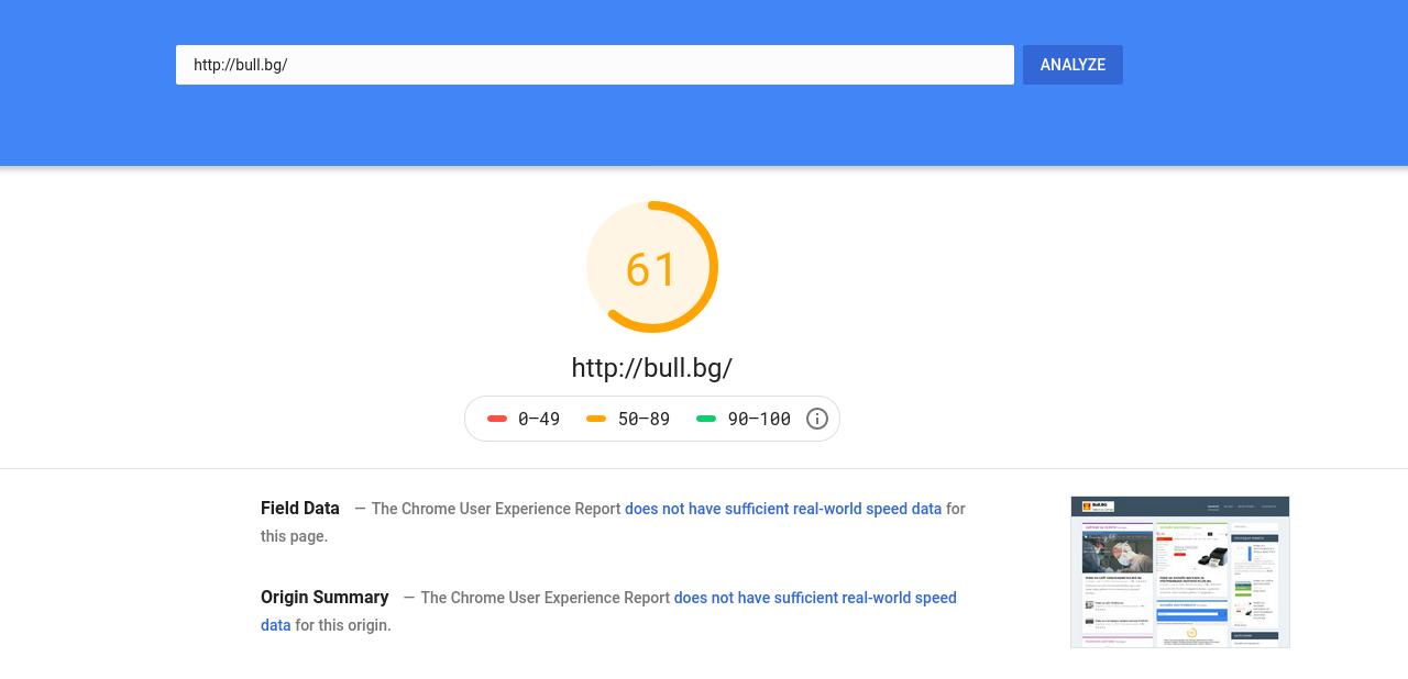 Ревю на инструмента Page Speeds Insights